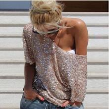 New Sexy fashion autumn women's Sequins Lady Shirt short Sle