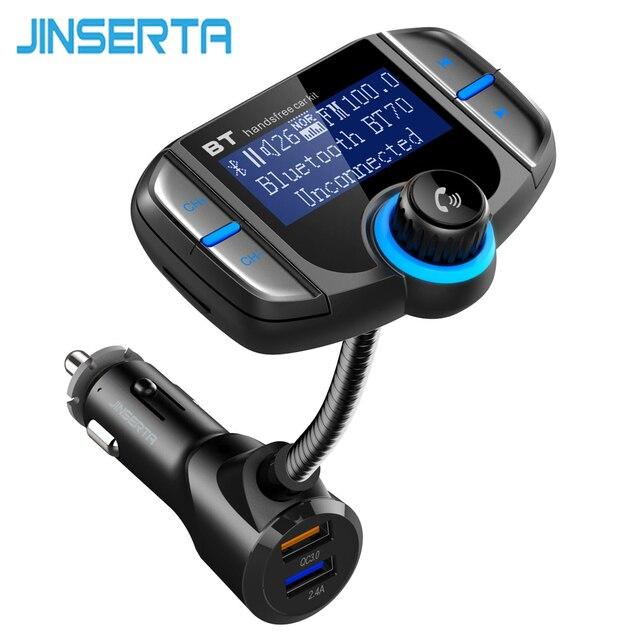 JINSERTA BT70 автомобильный Bluetooth fm-передатчик модулятор пропускания двойной USB зарядное устройство QC3.0 Громкая связь MP3 музыкальный плеер для автомобиля