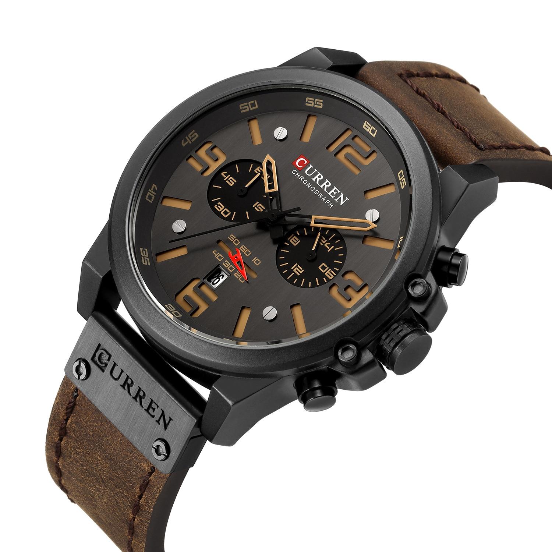 3bbc407a1a6 Novos 2019 Homens Relógio CURREN Top Marca De Luxo Mens Quartz relógios de  Pulso Militar De