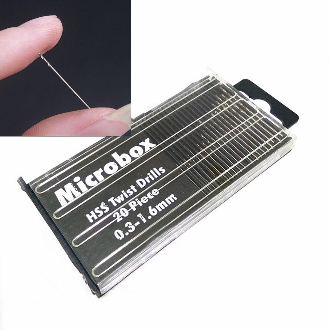 20pcs Mini Drill Bit Set HSS Micro Twist Drill Bit Set 0.3mm-1.6mm Model Craft With Case Repair Tools Tiny Micro Twist Drill Bit