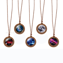 Galaxy Necklace Vintage Wooden Pendant Glass Cabochon Jewelry Solar System Planet Stars Nebula Outer Space Wood Necklaces Gift