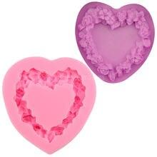 Цветочный венок Розы Любовь Сердце Силиконовое мыло для помадки