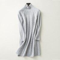 עז טהור קשמיר twisted לסרוג אמצע ארוך סוודר גולף שמלת סוודר האופנה של נשים 6 צבעים M/L/XL הקמעונאי סיטונאי
