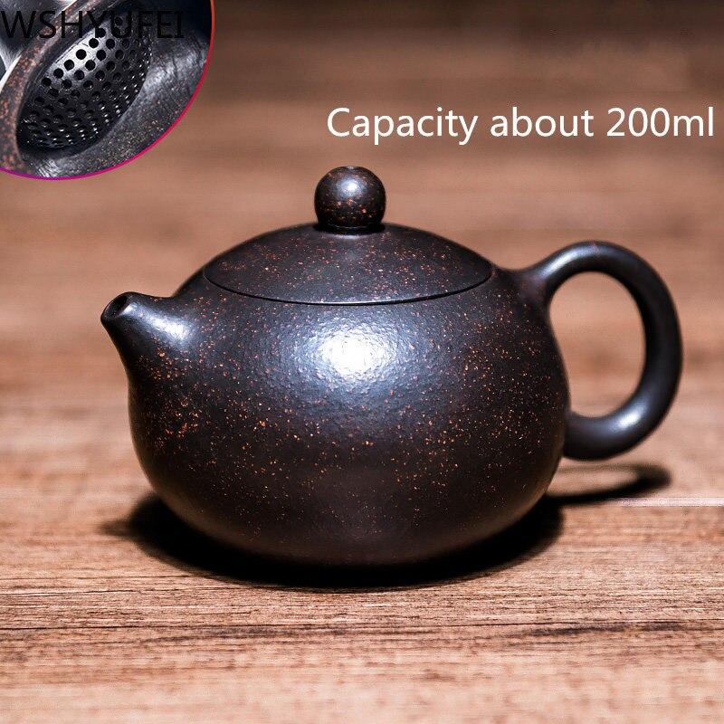 Purple sand teapot 200ml Famous hand-made ball hole filter teapot Xi Shi pot Smooth water Home  Tea set tea set WSHYUFEI