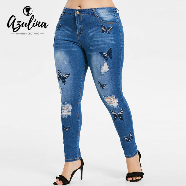 Rosegal Plus Size Butterfly Distressed Embroidered Jeans Women Pant Skinny High Waist Pencil Pants Denim Jean Ladies Trousers 1