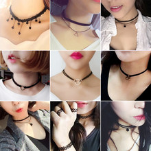 (1Pcs/Sell) Girl's Pendant Fashion Trendy Sexy Hollow Flower Pendant Water Drop Chokers Necklace Collar Jewellry Women Jewelry(China)