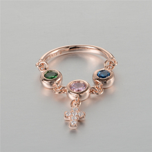 Compatible with European Jewelry Rose Gold Plated Cross Dangle Crystal RING 925 Sterling-Silver-Jewelry Women Rings Wholesale