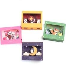 Free Shipping Cartoon Animals 3D Paper Folding Type Greeting Cards with Envelope Lion/Rabbit/Fox/Panda Birthday/Christmas Card