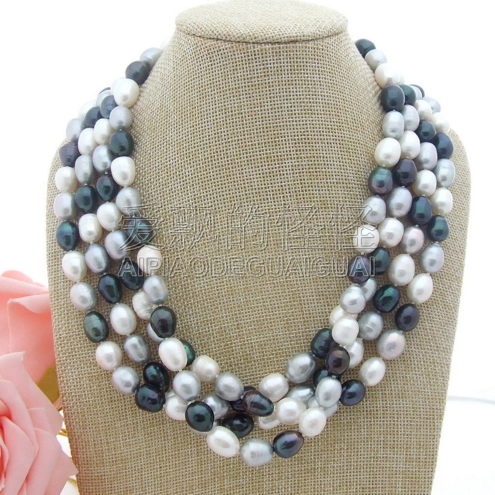 N050105 20'' 4Strands Multi Color Rice Pearl Necklace