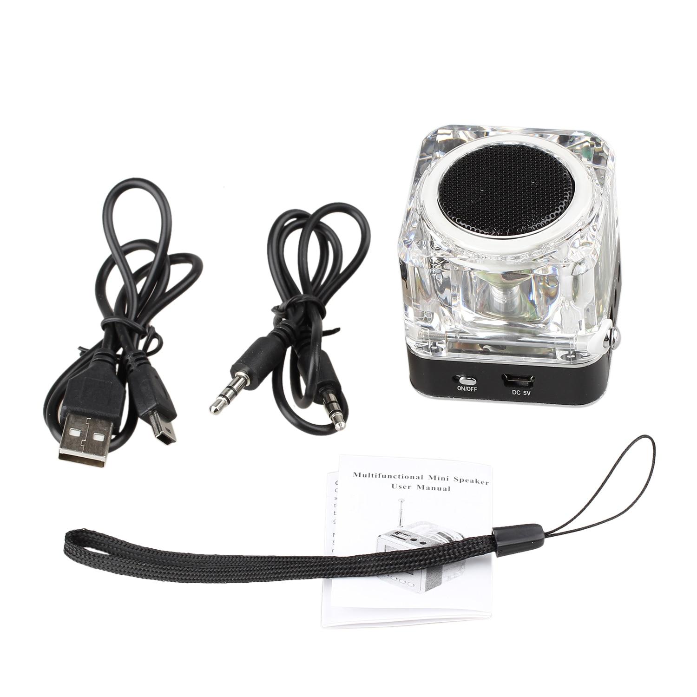 NIZHI Mini Disk Speaker FM Radio Micro SD Mini USB Speaker (black)
