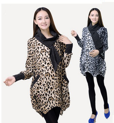 New Quality Women leopard print long turtleneck sweater for pregnant Maternity sweaters blouse scarf pullovers free shipping