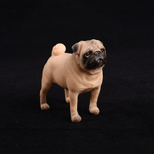 8CM White Pug Dog Models Standing Positio Action Figure Kids Educational Cheap Toy Gift Collection Brinquedos