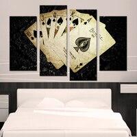 Sala HD Impresso Pintura Moderna 4 Painel de Idade Pokers Modular Imagem Arte Da Parede de Decoração Para Casa Cartaz Quadro Sobre Tela