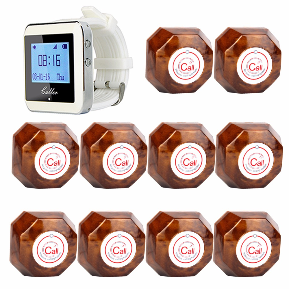 Coffee Shop Guest Call Pagers Wireless Waiter Paging Calling System For Restaurant Hotel With One-Key Transmitter Button F3288B waiter calling system watch pager service button wireless call bell hospital restaurant paging 3 watch 33 call button