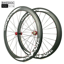 BIKEDOC 700c Carbon Wheels With Powerway R36 Ceramic Bearing Road Bike Wheels For Sapim Cx-ray Spoke Bicycle Wheels