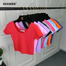 NEEDBO Best Sell O-Neck Sexy Crop Top Women Femme Short Sleeve T shirt Cotton High Waist Slim Casual Lady Tshirt 2019