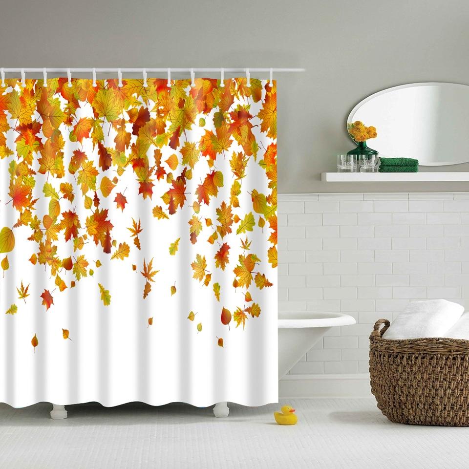 Svetanya Yellow Leaves Print Shower Curtains Bath Products Bathroom Decor With Hooks Waterproof 71x71