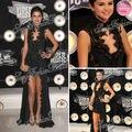 2013 Selena Gomez Mtv Video Music Awards Sexy cuello alto una línea corto delantero y trasero largo negro encaje vestido de la celebridad vestidos