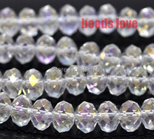 купить Wholesale Faceted AB Clear Glass Crystal Rondelle Spacer Beads 4 6 8 10 12 14mm Pick Siz Free Shipping(F00170) дешево