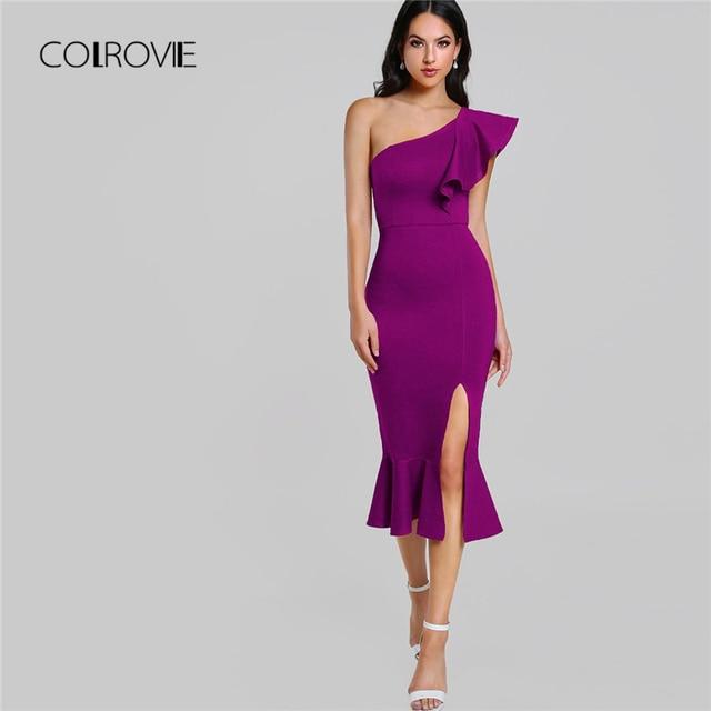 COLROVIE Purple Ruffle One Shoulder Slit Sexy Dress Women 2018 Autumn High Waist Sleeveless Party Dress Elegant Long Dresses