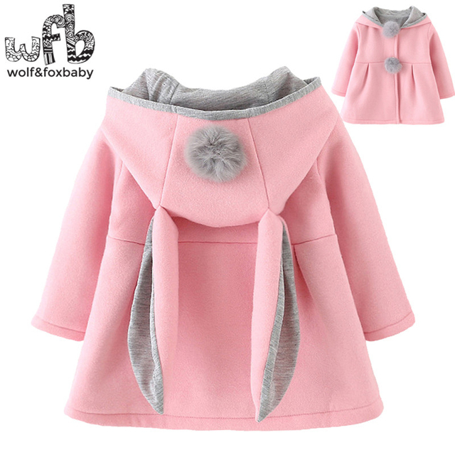 Retail 0-3 years coat cartoon Rabbit Ear Hooded solid color full-sleeves Warm cute kids children spring autumn fall winter