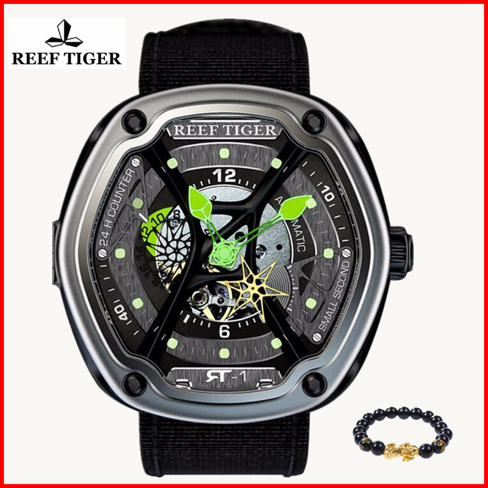 2019 Reef Tiger Official Mens Luxury Brand Watches Men Super Luminous Nylon Strap Automatic Waterproof Military