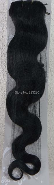 """22 """" de Remy do cabelo humano clipes em extensões do corpo ondulado 75 g preto # 1"""