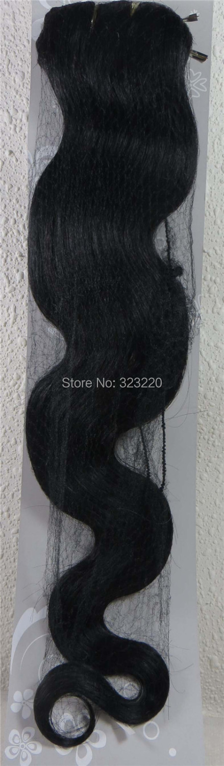 Wholesale 22″ Women's Remy Human Hair Clips In Extensions Body wavy 7Pcs 75g Jet Black #1