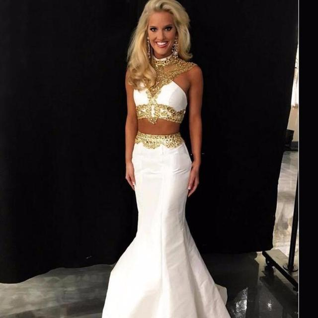 and gold dresses White prom