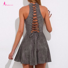 Lace up 2017 Summer Dress Woman Party Bandage A-Line Off Shoulder Sexy Backless Casual Solid Pleated Mini Dresses Plus Size