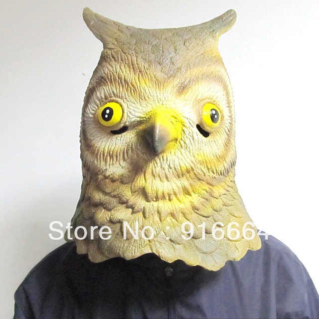 Latex Owl Horse Head Mask Creepy Halloween Animal Costume Theater Prop Novelty Latex Rubber