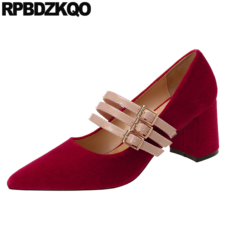 mary jane shoes size 33 4 34 thick pointed toe velvet strap red elegant 2019 women pumps high heels strappy footwear designermary jane shoes size 33 4 34 thick pointed toe velvet strap red elegant 2019 women pumps high heels strappy footwear designer