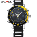 WEIDE Logo Black Yellow Silicone Watch Men Quartz Digital Multifunctional Dual Movement High Quality Fashion Sports Wristwatches