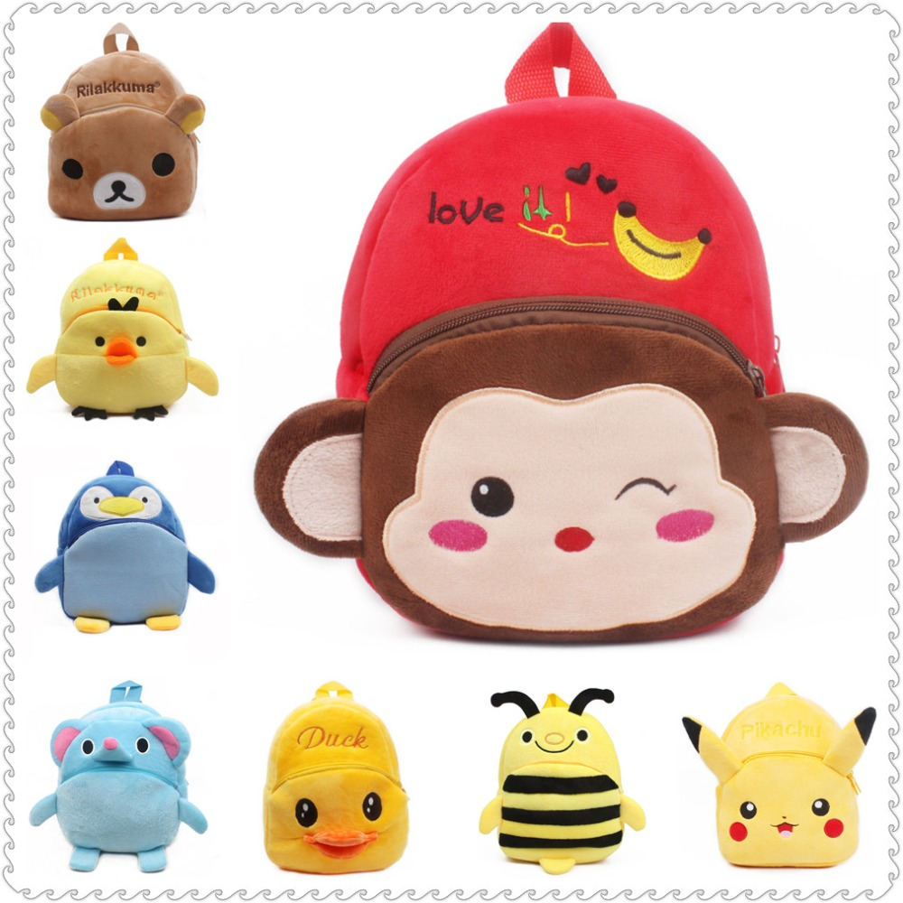2019 Baby Backpack Monkey Cartoon Boys Toy Plush Shoulder Bag 1-3 Years Cute Small Girl Kindergarten School Bags Animal Knapsack