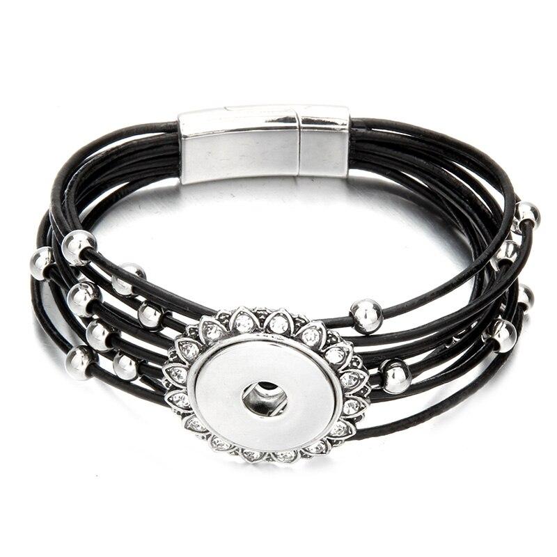 Magnet Buckle Tan Rhinestone Snap Bracelet Real Genuine Leather Bracelet Fit 18mm Snap Button Bracelet For Women Jewelry Браслет