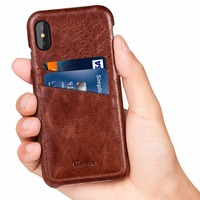 For IPhone X Case Genuine Leather Vintage Black Cover With 2 Card Slots Ultra Slim Leather