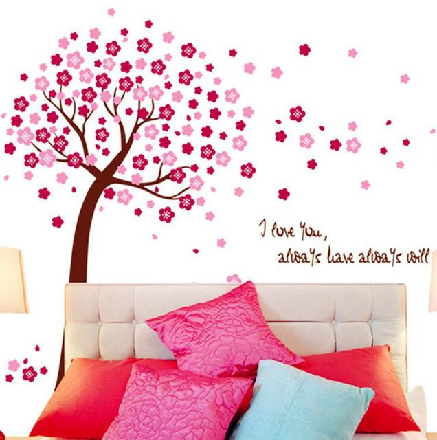 DIY Huge Pink Cherry Blossom Flowers Tree Art Wall Stickers ...