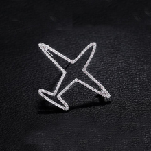Unisex Rhinestone Hollow Out Silver Plated Plane Brooch Pin Airplane Accessories Gift For Women Men Jewelry chic hollow out flower rhinestoned brooch for women
