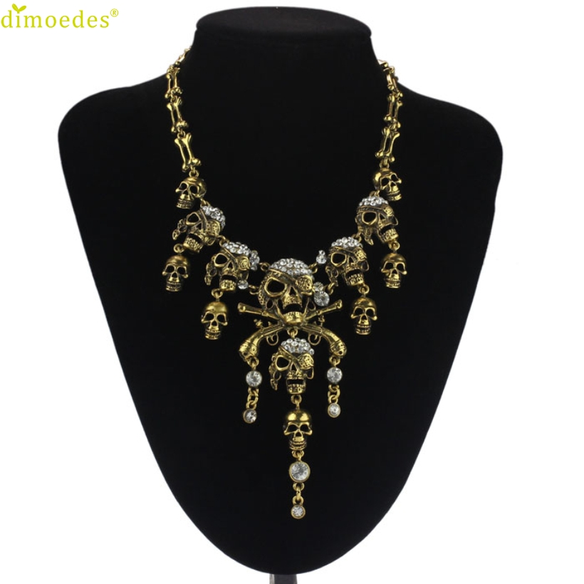 Diomedes Newest Creative Necklace Women Punk Style Retro Pirate Skull Cluster Rhinestone Chian Necklace Accessories Sexy Chain