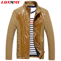 LONMMY Leather jacket men jacket Suede jaqueta mens leather jackets and coats Slim fit casual coat men PU Twill Casual M-5XL