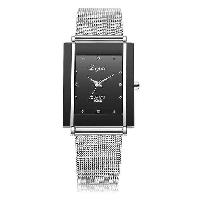 Lvpai Brand Women Bracelet Watch Silver Square Luxury Ladies Crystal Alloy Quart