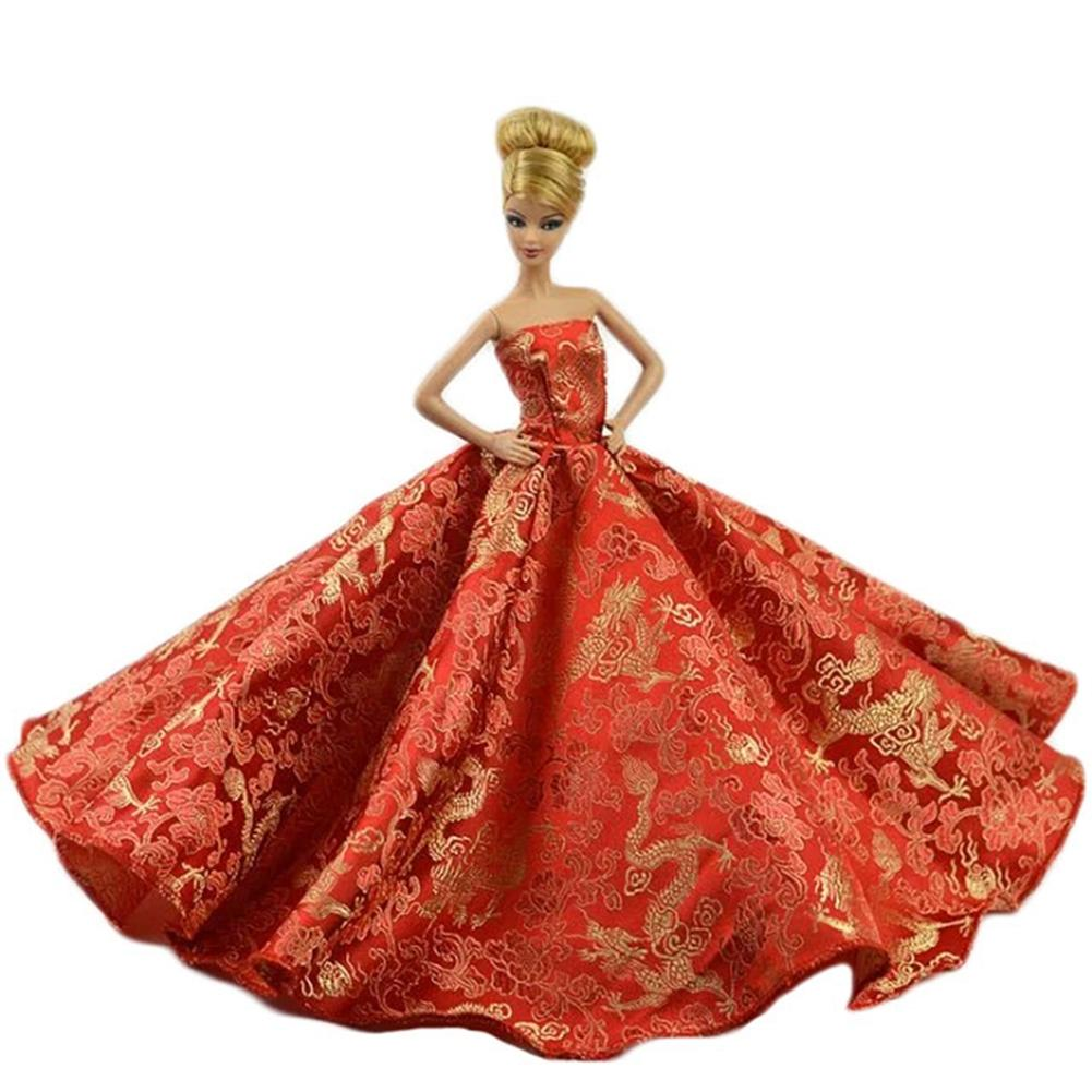 Pink Chinese language Type Beautiful Marriage ceremony Gown Get together Robe for Barbie Doll Nice Reward for Child Woman Equipment for Barbie dolls