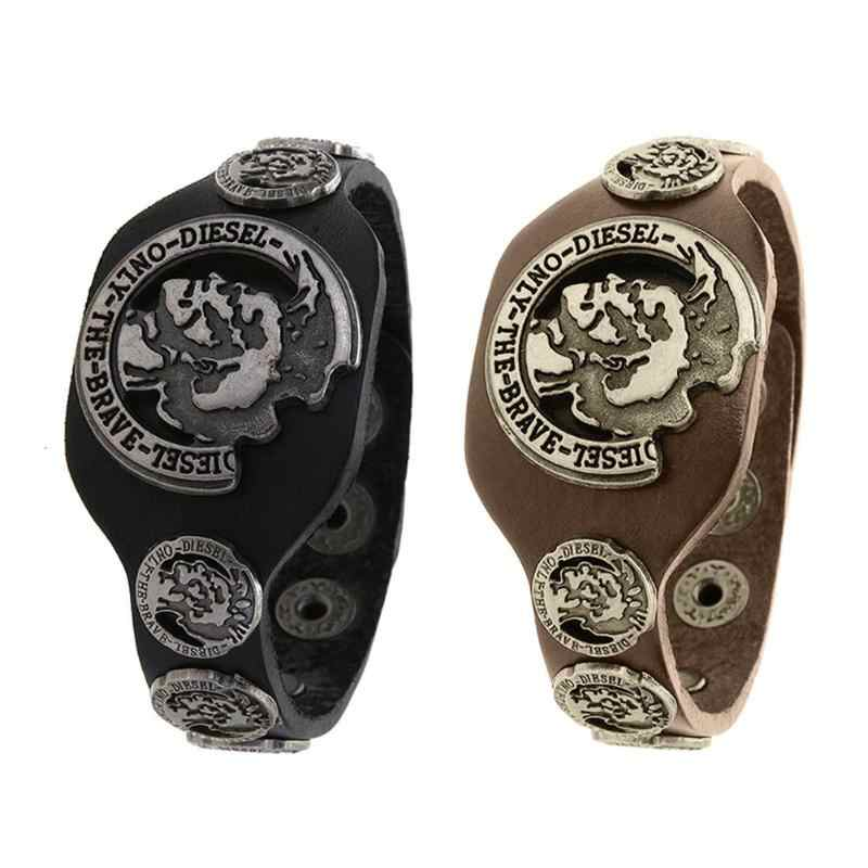 Punk pulsera de cuero genuino hombres ancho vintage brazalete ajustable hebilla pulsera masculina joyería negra y marrón