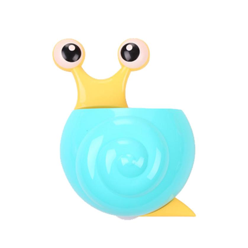 Home Decor Cute Snail Cartoon Design PP+PVC Sucker Hook Toothbrush Holder Snail Bathroom ...