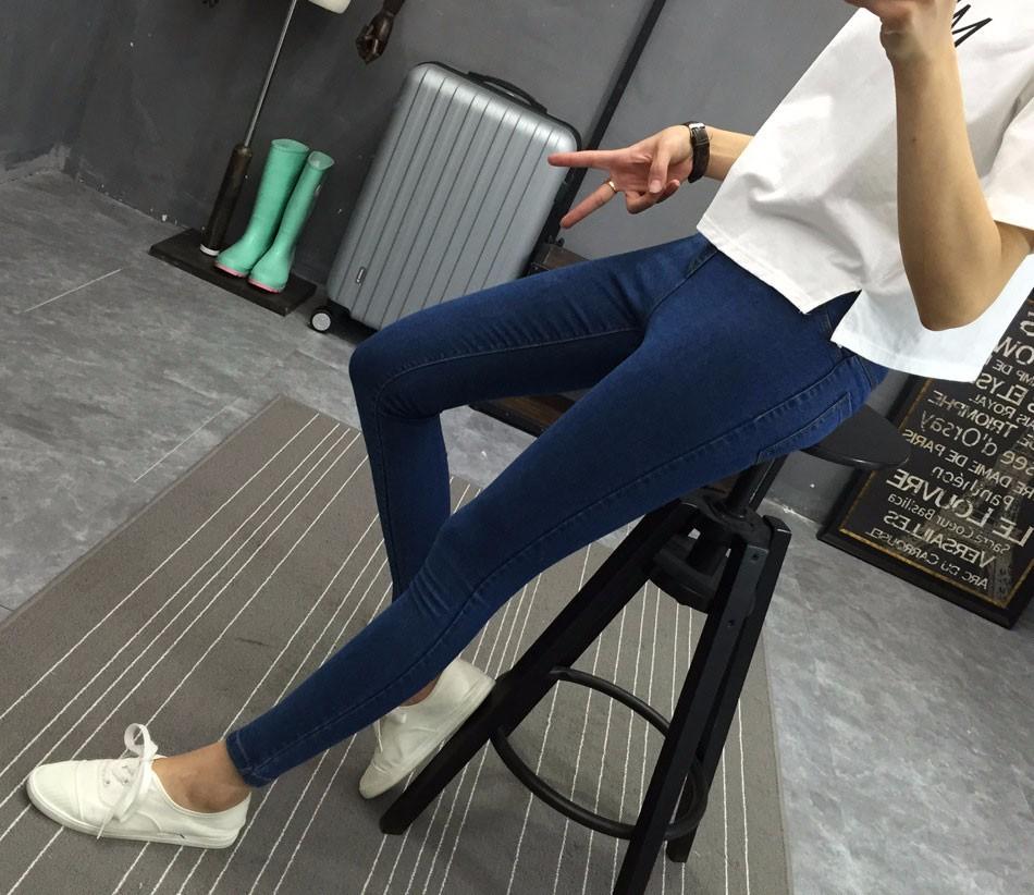 BIVIGAOS Basic Skinny Womens Jeans Ankle Pencil Pants Slim Elastic Denim Pants Jean Leggings Female Cotton Jeggings Jeans Women 33