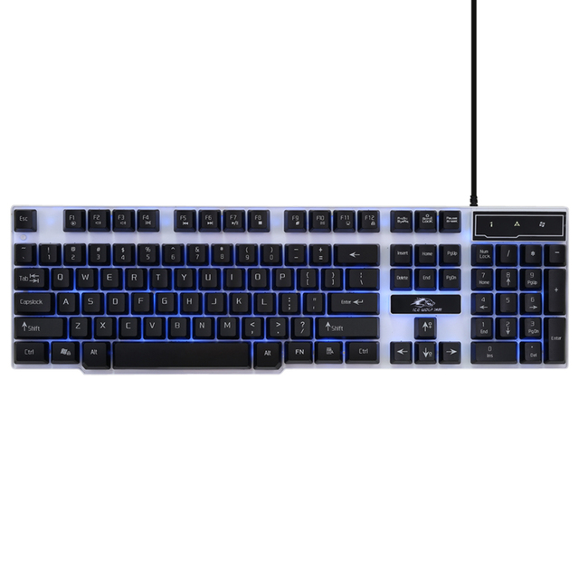 Professional Gaming Keyboard Ice Wolf 104 Keys Wired Ergonomic LED Illuminated Backlit Multimedia Esport Qwerty keyboard for LOL