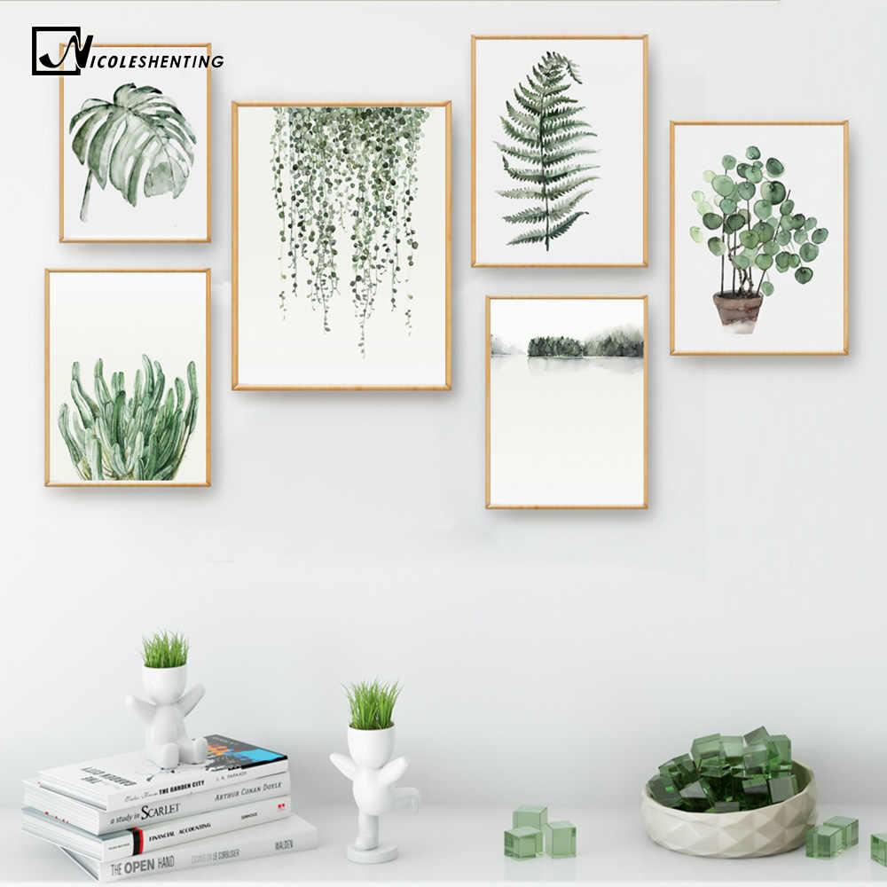 Плакат с акварельными листьями растений печать пейзаж стены искусства холст картина Картина для гостиной домашний Декор Украшение-кактус