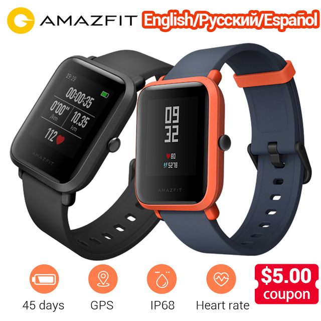 2f98258bd English Version Amazfit Bip Smart Watch Huami GPS Heart Rate Smartwatch  Pace Lite 45 Days Battery