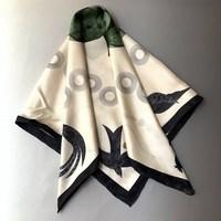 Green Leaves Scarf Women 90*90cm 100% Pure Twill Silk Scarves Female Summer Bandana Shawls Wraps
