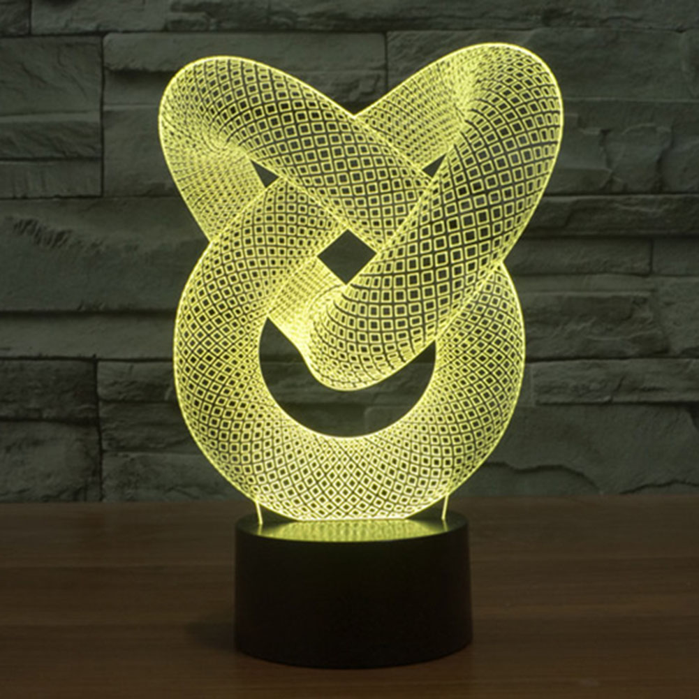 Home Decor Night Light Optical 3D Chain Link Lighting Laser Cut Desk ...